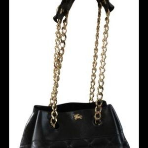 Burberry black and gold bucket bag